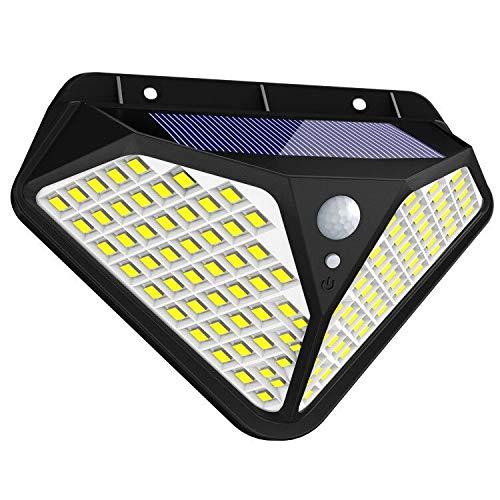 Fortand Solarleuchte für Außen,【Superhelle 102 LED- 270 °Vierseitige Beleuchtung】LED Solarleuchte mit Bewegungsmelder Solar Wasserdichte Wandleuchte mit 3 Modi Für Garten,Balkon-1Stück