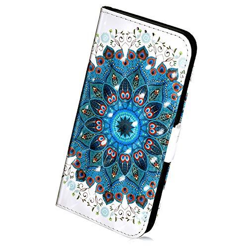Herbests Kompatibel mit Samsung Galaxy J4 Plus 2018 Handyhülle Leder Klapphülle Glitzer Bling 3D Bunt Retro Muster Schutzhülle Flip Case Leder Tasche Handytasche Lederhülle,Grün Mandala Blumen