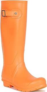 Women Side Buckle Knee High Rubber Rain Boot RI72