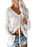 Saodimallsu Womens Boho Off Shoulder Sheer Crop Tops Bell Sleeve Flowy Oversized Crochet Ruched Pullover Sweaters White