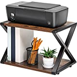 FITUEYES Desktop Printer Stand, 2 Tiers Wood Desk Organizer, Storage Book Shelf with Anti-Skid Pads Adjustable Feet for Home and Office, DO204501WG