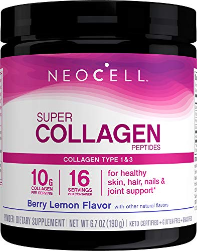 NeoCell Super Collagen Powder, 6,600mg Types 1 & 3 Grass-Fed Collagen, Gluten Free, Berry Lemon Flavor, 6.7 Ounces (Package May Vary)