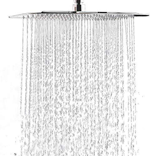 Hiendure® 40cm 304 acero inoxidable plaza ultra delgado lluvia alcachofa de la ducha