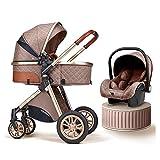 2021 Baby Stroller Portable Bassinet for Newborn (Khaki)