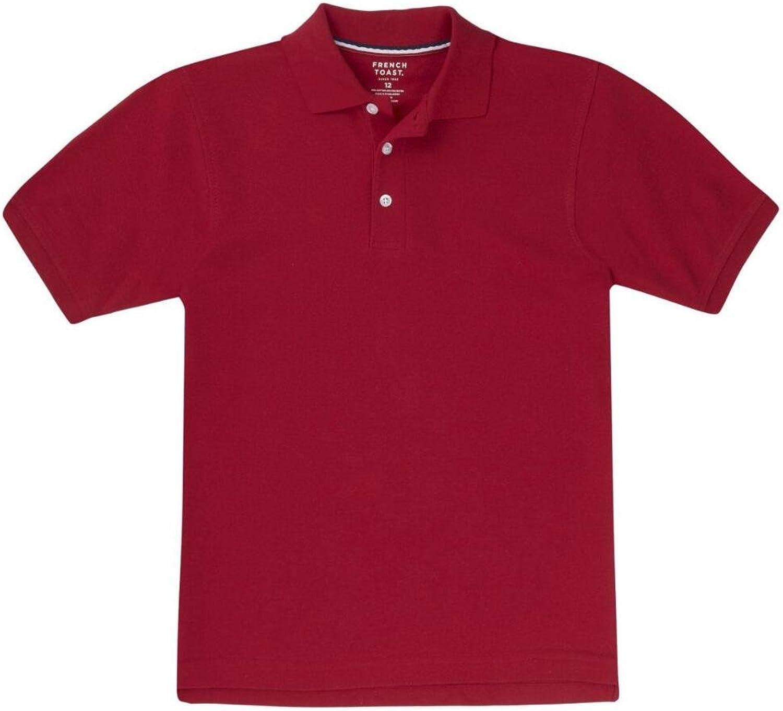French Toast School Uniform Boys Short Sleeve Pique Polo Shirt, Red