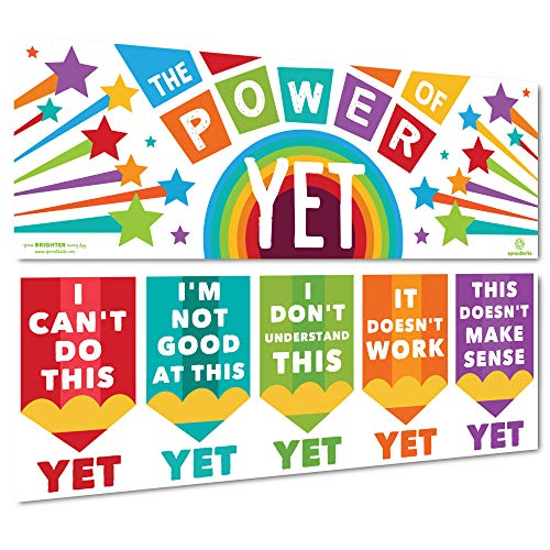 Sproutbrite Growth Mindset Classroom Decorations - Banner Posters for Teachers - Bulletin Board and Wall Decor for Pre School, Elementary and Middle School