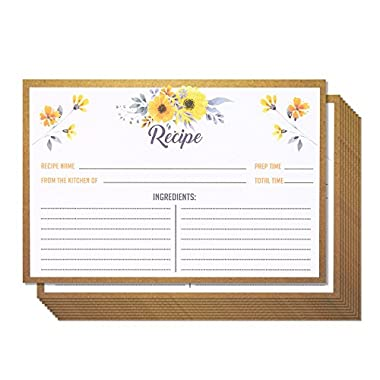 Recipe Cards - 60-Pack Blank Recipe Cards, Double-Sided, Floral Design, Perfect for Wedding, Bridal Shower, and Special Occasion, 4 x 6 Inches
