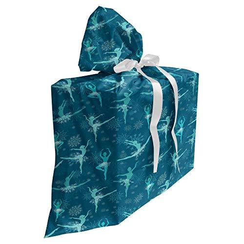 ABAKUHAUS Ballet Cadeautas voor Baby Shower Feestje, Snowflake Ballerina Dancers, Herbruikbare Stoffen Tas met 3 Linten, 70 cm x 80 cm, Petrol Blue Turquoise