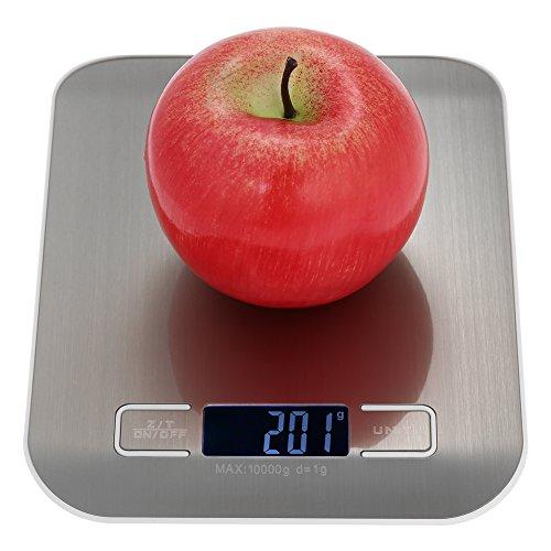 esonmus Küchenwaage 1g-10 kg, Genaue Digitalwaage Professionelle Electronische Waage, Automatisches Ausschalten nach 180 Sekunden Inaktivität-Metallic grau