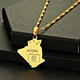 Necklace Star Algeria Map Pendant & Necklace Gold Trendy Chain Choker Women Men World Map Clothing Accessories