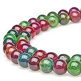 jartc Perline per Braccialetti Energetico Braccialetto Yoga Braccialetto Fai da Te Perle di Pietra Multicolore Crepa Agata 38 Pezzi con Perle di Chakra, 34CM,10 mm