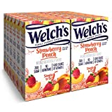 Welch's Singles To Go Water Drink Mix - Strawberry Peach Powder Sticks (12 Boxes with 6 Packets Each - 72 Total Servings)
