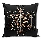 Funda de cojín decorativa con diseño de cubo de Metatrón, diseño de la geometría sagrada del Metatrón, regalo para cumpleaños, boda, pareja, aniversario, graduación, 45,7 x 45,7 cm
