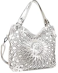 Silver Double Handle Starburst Bling Handbag