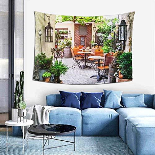 Tapiz de decoración de Pared - Tapiz de Arte Hippie de terraza de café para Colgar en la Pared - Manteles Extra Grandes para Dormitorio, Sala de Estar, Dormitorio, decoración del hogar