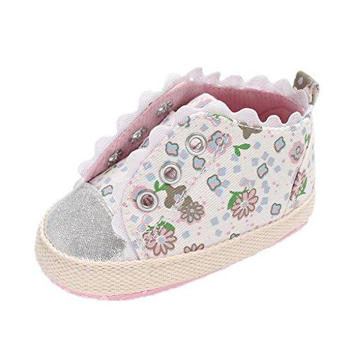 Babyschuhe Auxma Baby Mädchen Segeltuch Schuhe Kleinkinder Anti Rutsch Weiche Sohle Schuhe für 0-6 6-12 12-18 Monate (12-18 Monate, Rosa)