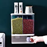 Wall Mounted Dry Food Dispenser - 2-Grid Storage Kitchen Food Dry Food Dispenser, Wall Mount Dispenser for Pet Food Candy Granola Nuts Beans Not for Oatmeal (3000ML)