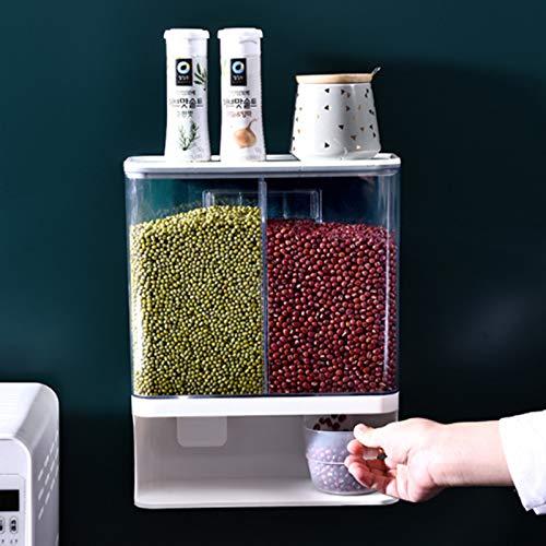 Dispensador de alimentos secos montado en la pared – Dispensador de alimentos secos para cocina, dispensador de alimentos secos, dispensador de montaje en pared para alimentos de...
