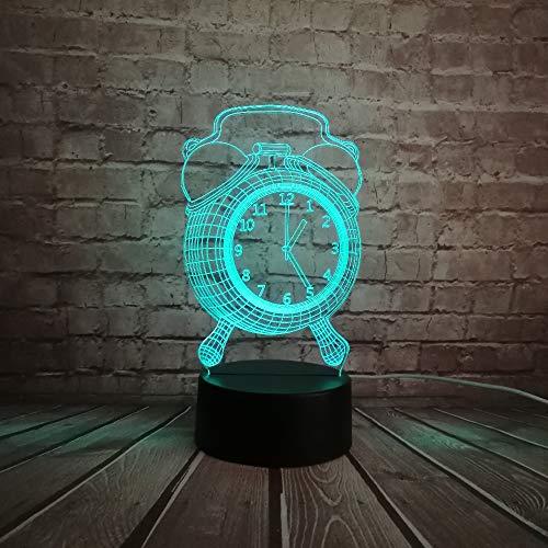3D Illusion Lampe LED Nachtlicht,Fasion Wecker Stil Spielzeug Dekorative 3D Usb Lampe Multicolor Rgb Led Birne Schreibtisch Tisch Nachtlicht Home Novetly Design