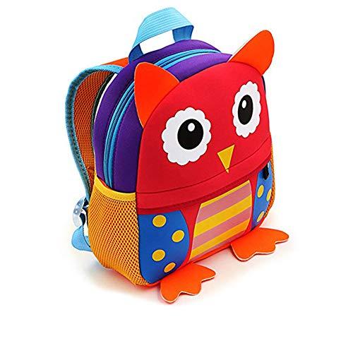 Kindergartenrucksack für Jungs und Mädchen,AOBRTAK Kindergartentasche mit Design niedliche Tieren, Kinder Rucksack, ein tolles Geschenk, Klein Kinderrucksack für Jungen Mädchen 2 - 7 Jahre - Eule