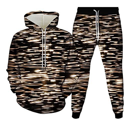 Pantaloni da Tuta Uomo Cappuccio Manica Lunga Abbigliamento da Casa Donna Pullover Hip Hop Felpa Pantaloni Set Grafica Stampata in 3D Felpe con Cappuccio Sportivo Traspirante Moda con Tasche