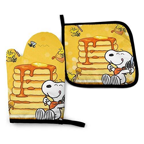 Ofenhandschuhe und Topflappen - Snoopy Essen Honig Hitzebeständig Küche Kochofen Handschuhe und Topflappen Set