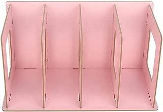 Supordu Wooden DIY Desktop Bookshelf Rack Books DVD Storage Magazine Holder for Students Kids Adult(Light Pink)
