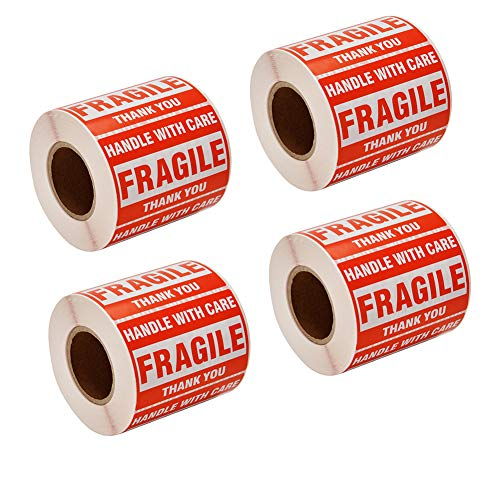 """SJPACK 2000 Fragile Stickers 4 Rolls 2"""" x 3"""" Fragile - Handle with Care - Thank You Shipping Labels Stickers (500 Labels/Roll)"""