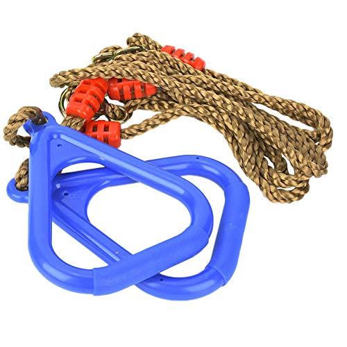 Qiilu Gym Ring Een paar verstelbare plastic kinderen Swing Gym Fitness Oefening Sport Hangende ring met touw(blauw)