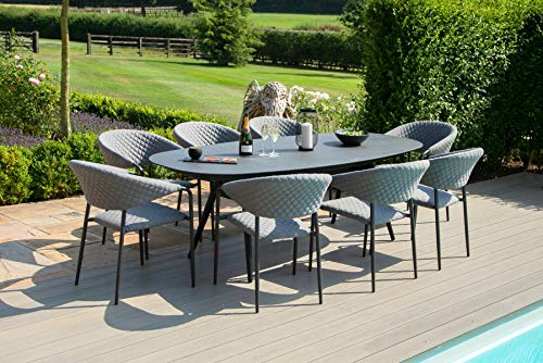 Fenetti - Outdoor Fabric Pebble 8-Seater Oval Dining Set - Flannel