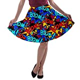 CowCow Womens Pop Art Cool Boom Dark Party A-Line Stretchy Skater Skirt - L