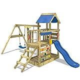WICKEY Aire de jeux Portique bois TurboFlyer avec balançoire et toboggan bleu Maison enfant exterieur avec bac à sable, échelle d'escalade & accessoires de jeux
