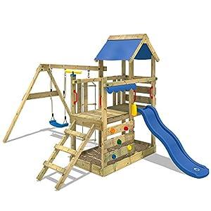 WICKEY Parque infantil de madera TurboFlyer con columpio y tobogán azul, Torre de escalada de exterior con arenero y escalera para niños