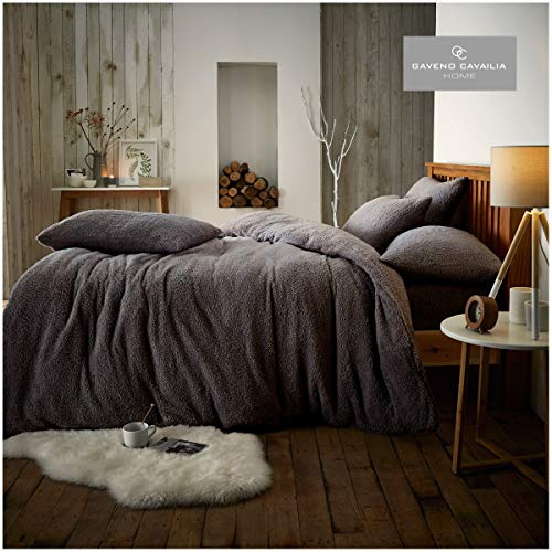 GAVENO CAVAILIA Soft & Cosy Warm Bedding Teddy Duvet Cover Thermal Fleece Bedding Set With Pillowcases, Charcoal, Double