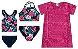 Girls' Rose Floral 5 Piece Girls Fashion Mix and Match Swimsuit Bathing Suit Bathingsuit Set 5