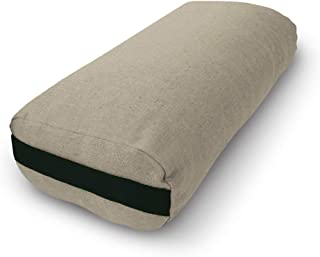 Bean Products Yoga Bolster - Made in The USA with Eco Friendly Materials - Studio Grade Rectangular Support Cushion That Elevates Your Practice & Lasts Longer - Natural Cotton, Hemp or Vinyl Cover