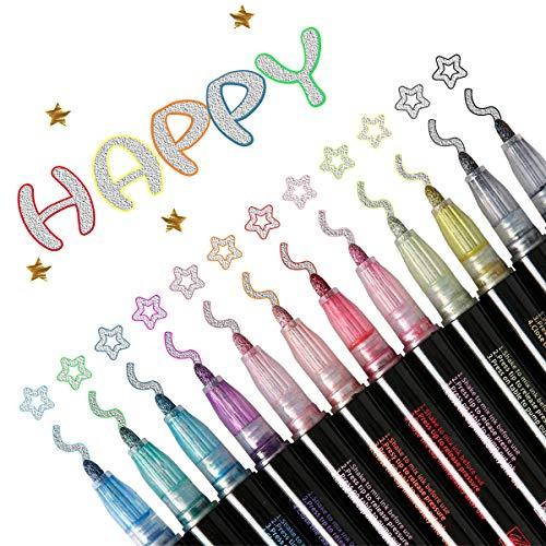 KETIEE Outline Stift, 12 Farben Magic Glitzer Stifte, Wasserfester Stift Geschenkkarte Schreiben von Zeichenstiften zum Geburtstagsgruß, Schrottbuchung, Malen, Basteln zum Selbermachen