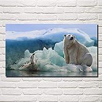 冬の動物自然コラージュ氷氷山クマ氷山リビングルームの装飾家の壁アートの装飾ポスター60x100cm(23.6x39.3インチ)フレームなし