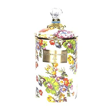 MacKenzie-Childs Flower Market Large Enamel Canister - White 5  dia., 7  tall
