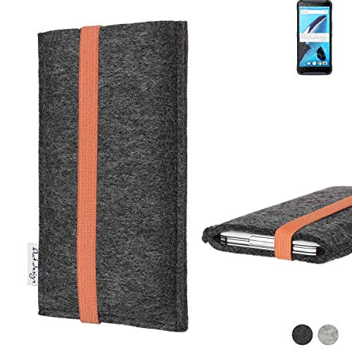 flat.design Handy Tasche Coimbra für Energizer Hardcase H570S - Schutz Hülle Tasche Filz Made in Germany anthrazit orange