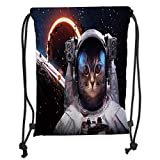 Fevthmii Drawstring Backpacks Bags,Space Cat,Cosmonaut in Comet Galaxy Clusters in Outer Space Cosmos Art Print,Dark Blue White and Black Soft Satin,5 Liter Capacity,Adjustable String Closu