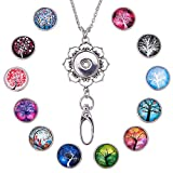 SUNNYCLUE 1 Box 30inches Women Office Lanyard ID Badges Holder Necklace with 12pcs Alloy Breakaway Snap Buttons Charms Jewelry Pendant Clip & Plastic Box(Tree of Life)
