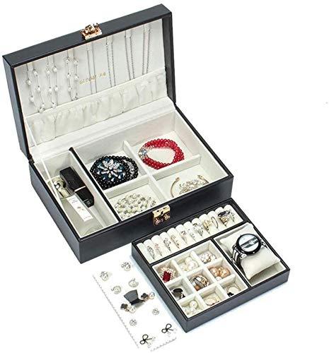 Joyería Cajas de pecho Cajas de Joyas de Cuero 2 Capas Bandeja Bandeja Joyería Cofre Con Lock Jewellery Organizador para Anillos Pendientes Pulseras Joyas Cajas de exhibición para niñas
