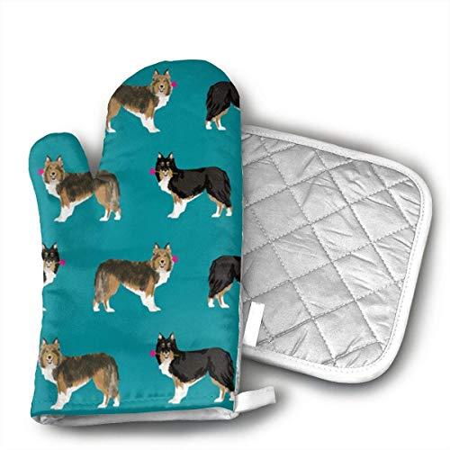Sheltie Shetland Sheepdog - Manoplas para horno y ollas, resistentes al calor con forro de algodón acolchado, para cocinar, hornear, asar, barbacoa, etc.