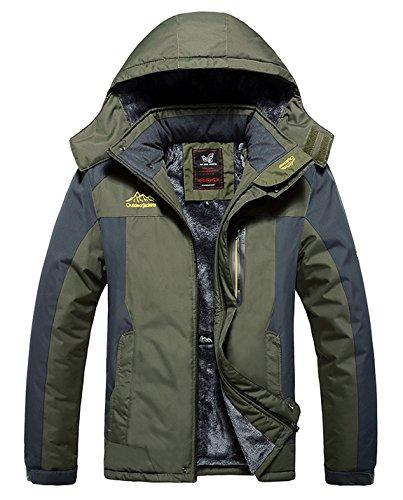 HOW'ON Men's Snow Jacket Windproof Waterproof Ski Jackets Winter Hooded Mountain Fleece Outwear Army Green XL