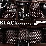 Ciroing Alfombrillas Coche Cobertura Completa Impermeable para Hyundai Genesis 2015-2017 Alfombras Coche Y Moquetas para Coches Accesorios De Decoración.Negro-Rojo