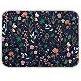 Microfiber Dish Drying Mat for Kitchen Counter 18'' x 24'' Colorful Flowers Absorbent Dish Draining Mat Extra Large