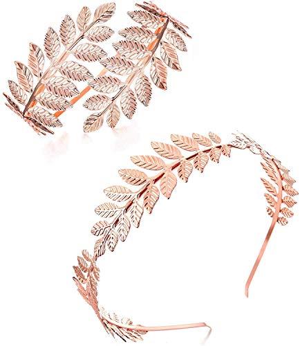 Finrezio Griechische Göttin Stirnband Armmanschette Brautschmuck-Set Roman Laurel Leaf Branch Kronenarmreif Oberarmband Armband Einstellbar Rose