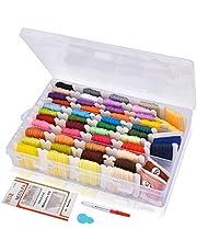 HailiCare 刺しゅう糸 刺繍系セット 50束 刺しゅう針付き 刺繍針セット ミサンガ 組みひも クロスステッチ 箱入り 収納便利 カラーが豊富で綺麗 まとめ買いオリジナルセット カラフル