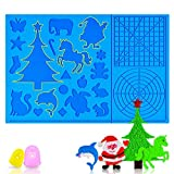 ZALAVER 3D Pen Mat, 3D Printing Pen Heat-Resistant Silicone Pad with Patterns, Foldable Design 3D Pens Drawing Tools with 2 Finger Protectors (16.2 x 10.9 Inches)